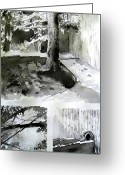 Drain Greeting Cards - Ink Wash Under a Tree Greeting Card by Nils Beasley