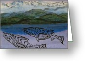 Blues Tapestries - Textiles Greeting Cards - Inland Passage Greeting Card by Carolyn Doe