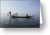 Sight Seeing Greeting Cards - Inle Lak Traditional Fishing Greeting Card by Photostock-israel