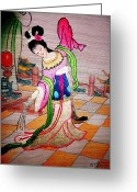 Dancing Tapestries - Textiles Greeting Cards - Inlove Greeting Card by Almira Gepte
