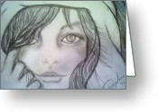 Cheek Drawings Greeting Cards - Inner Greeting Card by Angelica -Gel Studios