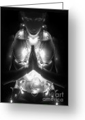 New Age Art Greeting Cards - Inner Illumination - Self Portrait Greeting Card by Jaeda DeWalt