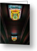 Neon Art Greeting Cards - Inner Lobby Neon Greeting Card by Fred Lassmann