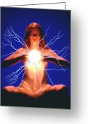 Psychic Greeting Cards - Inner Power Greeting Card by Gerard Fritz