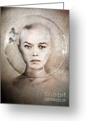 Face Greeting Cards - Inner World Greeting Card by Photodream Art