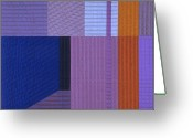 Blues Tapestries - Textiles Greeting Cards - Innerspace 10 Greeting Card by Marilyn Henrion