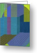 Blues Tapestries - Textiles Greeting Cards - Innerspace 5 Greeting Card by Marilyn Henrion