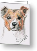 Fans Drawings Greeting Cards - Innocence Greeting Card by Tarja Stegars