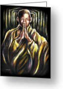 Asian Art Greeting Cards - Inori Prayer Greeting Card by Hiroko Sakai