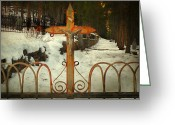 Cemetery Gate Greeting Cards - Inri Greeting Card by Steven  Michael