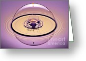 Splashes Greeting Cards - Inside a Saturn Bubble Greeting Card by Susan Candelario