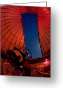 Observatories Greeting Cards - Inside An Observatory With Telescope Greeting Card by Greg Dale
