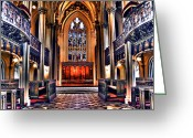 Stained Glass Ireland Greeting Cards - Inside Chapel Royal Greeting Card by Jeff Stein