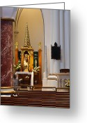 Rosary Greeting Cards - Inside Holy Rosary Cathedral Greeting Card by Paul W Sharpe Aka Wizard of Wonders