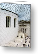 Tourists And Tourism Greeting Cards - Inside The British Museum Great Court Greeting Card by Justin Guariglia