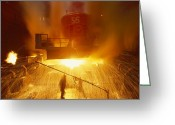 Factories Greeting Cards - Inside The East-slovakian Steel Mill Greeting Card by James L. Stanfield