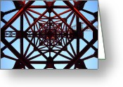 Crane Greeting Cards - Inside Tower Of Crane Greeting Card by Masahiro Hayata