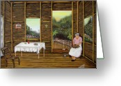 Wooden Home Greeting Cards - Inside Wooden Home Greeting Card by Gloria E Barreto-Rodriguez