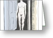 "\""mannlicher Akt\\\"" Greeting Cards - Insomnia 1 Greeting Card by Stan Magnan"
