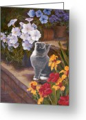 Garden Pots Greeting Cards - Inspecting the Blooms Greeting Card by Evie Cook