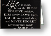 Regret Greeting Cards - Inspirational Motivating Quote Greeting Card by Paul Fell