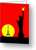 Grenelle Greeting Cards - Inspired by the Statue of Liberty in Paris Greeting Card by Asbjorn Lonvig