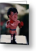 Boxer Sculpture Greeting Cards - Inspired Rocky Greeting Card by Joaquin Carrasquilla