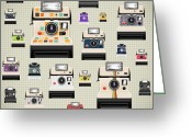 Photograph Digital Art Greeting Cards - Instant Camera Pattern Greeting Card by Setsiri Silapasuwanchai