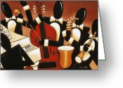 Jamming Painting Greeting Cards - Instrumental Harmony Greeting Card by Lori McPhee