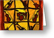 Sax Greeting Cards - Instruments Abstract Greeting Card by David G Paul