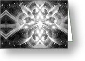 Supernatural Mixed Media Greeting Cards - Intelligent Design BW 1 Greeting Card by Angelina Vick