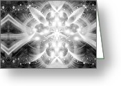 Supernatural Mixed Media Greeting Cards - Intelligent Design BW 2 Greeting Card by Angelina Vick