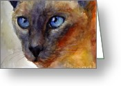 Kitten Greeting Card Greeting Cards - Intense Siamese Cat painting print 2 Greeting Card by Svetlana Novikova