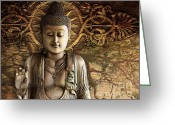 Buddha Art Greeting Cards - Intentional Bliss Greeting Card by Christopher Beikmann