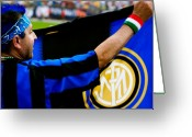 Soccer Stadium Greeting Cards - Inter vs AC Milan Greeting Card by Andrew Kubica