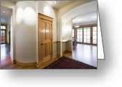 Wood Floors Greeting Cards - Interior Door in Large Home Greeting Card by Andersen Ross