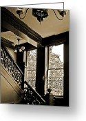 Banister Greeting Cards - Interior Elegance Lost in Time Greeting Card by DigiArt Diaries by Vicky Browning