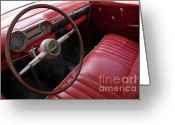 Wheels Greeting Cards - Interior of a classic American car Greeting Card by Sami Sarkis