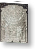 Buildings Drawings Greeting Cards - Interior of Saint Pauls Cathedral Greeting Card by John Coney