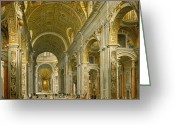 Catholic Church Painting Greeting Cards - Interior of St. Peters - Rome Greeting Card by Giovanni Paolo Panini