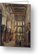 Archways Greeting Cards - Interior of the Mosque of El Mooristan in Cairo Greeting Card by Adrien Dauzats