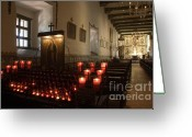 Spaniards Greeting Cards - Interior Old Mission Greeting Card by Bob Christopher
