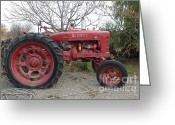 Old Farm Equipment Greeting Cards - International Harvester McCormick Farmall Farm Tractor . 7D10320 Greeting Card by Wingsdomain Art and Photography