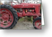 Old Farm Equipment Greeting Cards - International Harvester McCormick Farmall Farm Tractor . 7D10323 Greeting Card by Wingsdomain Art and Photography
