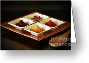 Wooden Bowls Greeting Cards - International Kitchen Spices Greeting Card by Inspired Nature Photography By Shelley Myke