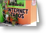 Cantina Greeting Cards - Internet and Tacos Greeting Card by Ellen Henneke