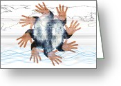 World Map Print Photo Greeting Cards - Internet Security Greeting Card by Neal Grundy
