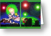 Starry Digital Art Greeting Cards - Interplanetary Conceptual Diptych 2 Greeting Card by Steve Ohlsen