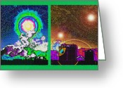 Starry Digital Art Greeting Cards - Interplanetary Conceptual Diptych Greeting Card by Steve Ohlsen