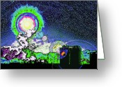 Starry Digital Art Greeting Cards - Interplanetary..... Greeting Card by Steve Ohlsen